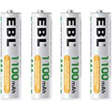 EBL 単4形充電池 充電式ニッケル水素電池 高容量1100mAh 4本入り 約1200回使用可能 ケース1個付き 単四充電池 AAAバッテリ AAA battery 単4電池充電式