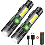 Magnetic Flashlights, iToncs USB Rechargeable Flashlight, Portable Ultra Brightest Handheld LED Tactical Flashlights with COB