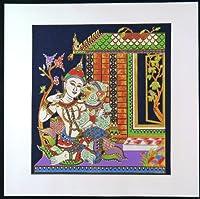 タイ民族絵画 布絵 綿黒色地 コットン絵画