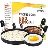 "COTEY 1x Large 6"" Pancake Mold & 2x 3.5"" Nonstick Egg Rings Set of 3, Round Crumpet Ring Mold Shaper for English Muffins Panc"