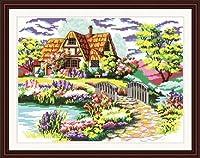 Maomao 図柄印刷クロスステッチキット 専属欧米風庭園風景刺しゅう装飾品 十字繍通販 [並行輸入品]