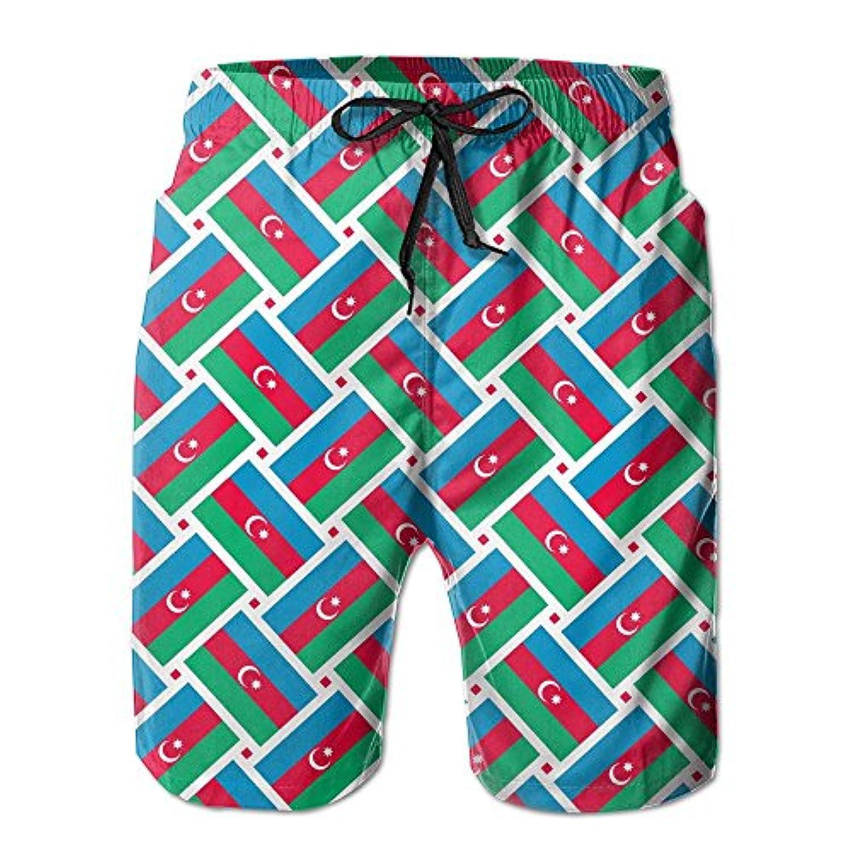 Azerbaiian Flag Weave メンズ サーフパンツ 水陸両用 水着 海パン ビーチパンツ 短パン ショーツ ショートパンツ 大きいサイズ ハワイ風 アロハ 大人気 おしゃれ 通気 速乾
