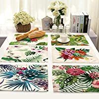 2018 New Modern Green Leaf Fresh Table Placemat Fresh Linen NapkinTablecloth Tablecloth Home Table Decoration Tablecloth : United States, H