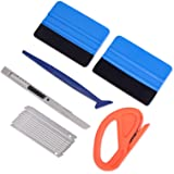 Vehicle Vinyl Wrap Window Tint Film Tool Kit Include 4 Inch Felt Squeegee, Retractable 9mm Utility Knife and Snap-off Blades,