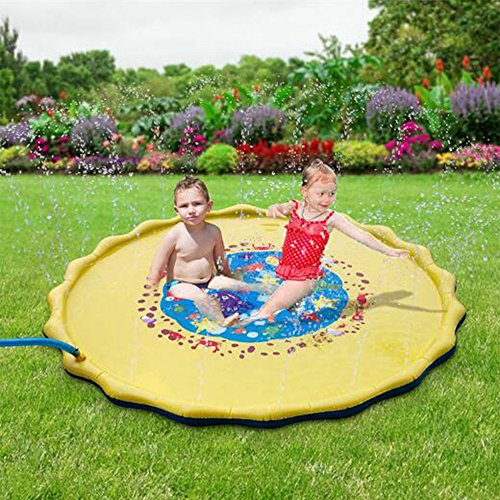 プレイマット ウォーター プレイ アウトドア 芝生遊び 水 夏の日 子供用 おもちゃ 噴水マット ふんすい 庭 家庭用 キッズ 水遊び 噴水池 噴水できる (直径-170cm)
