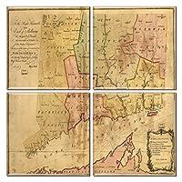 Connecticutコースターのヴィンテージマップ( Set of 4)