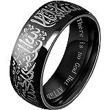 LANHI Men's Stainless Steel Muslim Islamic Ring with Shahada in Arabic and English Black