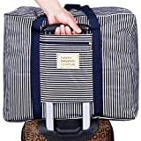 折りたたみ バッグ キャリー 上に置ける 旅行 ナイロン 防水 バック SmartTravel (XLサイズ, 1. ネイビー(持ち手) x ブラック ストライプ)