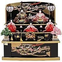 雛人形 収納飾り コンパクト 3段飾り 5人 ひな人形 お雛様 初節句飾り 黒塗り お祝い 三段飾り 五人