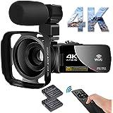 ビデオカメラ 4KYouTubeカメラ WIFI機能 18倍デジタルズーム外付けマイク+フード 3インチタッチモニター HDMI出力IRナイトビジョン機能vloggingカメラ日本語システム+説明書(ベシックセット)360°ワイヤレスリモコン予備バッ