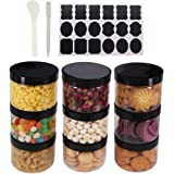 8 Pack 8 OZ Round Clear Plastic Jars With Black Lids, A Spatula, A Pen & Labels - BPA Free PET Container for Cosmetics, Cream