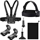 T Tersely [7 in 1] Head + Chest Harness Strap Mount for GoPro Hero 9 8 7 Black 6 5 4 SJCAM Xiaomi Yi Sport Action Camera, wit