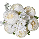 Luyue Vintage Artificial Peony Silk Flowers Bouquet Home Wedding Decoration (Spring White)
