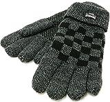 (シンサレート) Thinsulate 手袋 メンズ グローブ ニット ブロックチェック 裏フリース 高機能中綿素材 4color Free ブラック