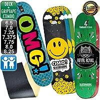 オーエムジー(OMG!) スケボー スケートボード マスター スマイル デッキ 8.25 ブラック & ブラック 無地 グリップテープ デッキテープ