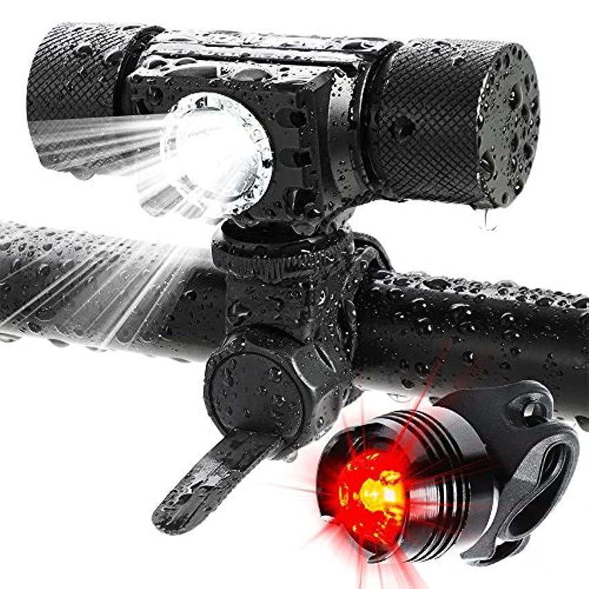 ぺディカブ季節武器ADAMITA USB充電式LED自転車フロントライト&リア、500ルーメン防水フロントライト、5つ照明ライトモードのバックライト、軽量で安全