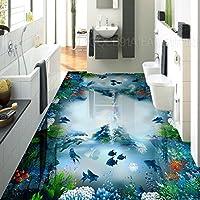Mbwlkj 壁紙 3D水中世界の海洋生物の床塗装防水リビングルームベッドルームバスルームロビーの床の壁画がある。-150Cmx100Cm