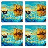 MSDスクエアコースターイメージ15209803llECフォレストの元の油彩画風景川とブリッジ現代印象派 WXAEALakkA_ORIGINAL OIL PAINTIN_631