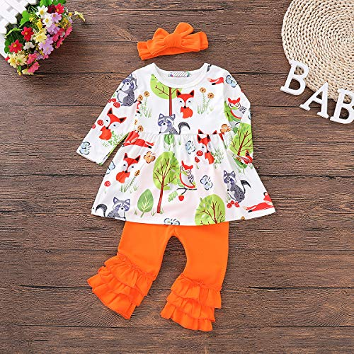 HAPPYMA Toddler Kids Baby Girls Clothing Sets Funny Animal Printed Shirts Top Bell-Bottomed Pants Autumn Outfits (White, 3-4T)