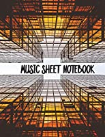 Music Sheets Notebook: Orange Skyscraper Blank Sheet Music Templates for Songwriters, Musicians, and Theory Students in Large Size