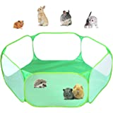 Small Animals C&C Cage Tent, Breathable & Transparent Pet Playpen Pop Open Outdoor/Indoor Exercise Fence, Portable Yard Fence
