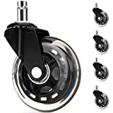 5 Packs Office Chair Wheels Black Replacements Heavy Duty Safe for All Floors Including Hardwood, 3'' Perfect Replacement for