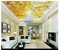 3D壁紙 壁画 天井用シルククロス 天然風景 木の葉 リビングルーム Zenith 天井壁画 Ayzr SFGSG466056