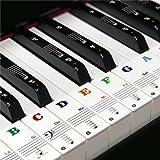 88/61/54/49 カラフルキー ピアノ キーボード ステッカー 音符シール 剥がせる フィンガープラクティス ガイド 透明で取り外し可能 フ
