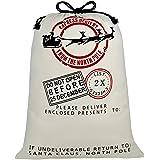 "Personalized Santa Sack,Blank Christmas Gift Bag with DrawstringGift Ribbon Jumbo Size 27.6""x19.7"" (Beige)"