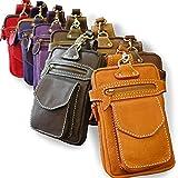 ウエストポーチ ウエストバッグ 本革 レザー メンズ ヒップバッグ ベルトポーチ bag-pou006 (ライトブラウン)