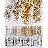 COKOHAPPY 8 Boxes Gold Silver Holographic Chunky Glitter Sequins Iridescent Flakes Ultra-thin Tips Colorful Mixed Paillette Festival Beauty Makeup Face Body Hair Nails Cosmetic Glitter