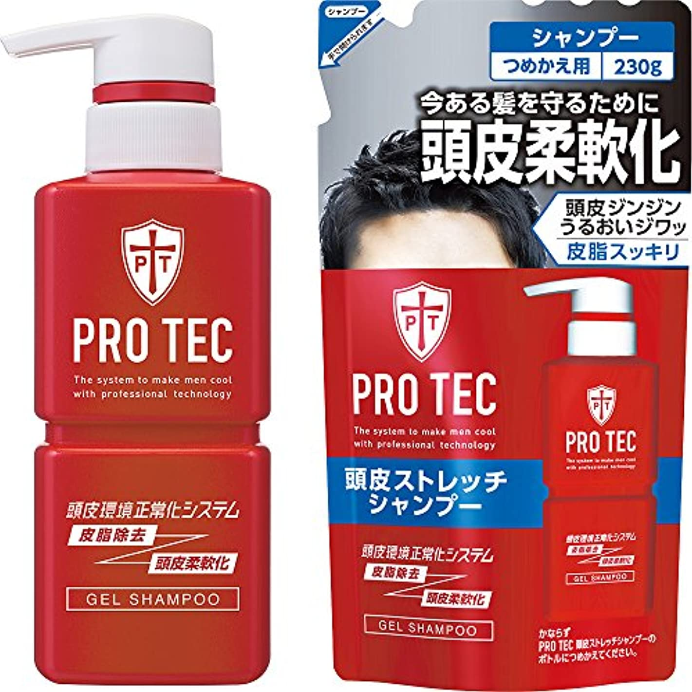 薬剤師情熱的桃PRO TEC(プロテク) 頭皮ストレッチシャンプー 本体ポンプ300g+詰め替え230g セット(医薬部外品)