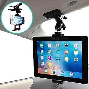 Nanmara 車載用 iPad タブレット クリップ ホルダー スマホにも対応 強力クリップでしっかり固定 いろんな場所で使えるホルダー 取付場所はサンバイザー・後部座席など自由自在 車載 スタンド(タブレット&スマホ用)