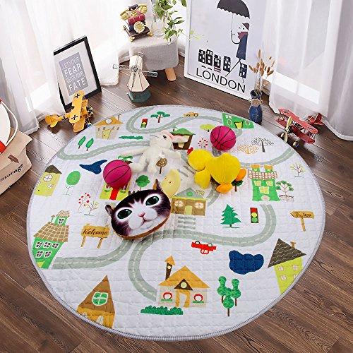 Winthomeベビープレイマット キッズ 遊びマット おもちゃ収納袋 片付けマット ブロック収納マット 滑り止め付き 直径150cm (1)