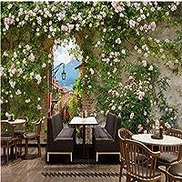 Lixiaoer カスタム花壁画ヨーロッパ現代レンガの壁の花の壁紙テレビの背景壁紙リビングルーム壁画-400X280Cm