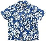 (マルカワジーンズパワージーンズバリュー) Marukawa JEANS POWER JEANS VALUE アロハシャツ キッズ 半袖 シャツ ハイビスカス 5color 150 ブルー