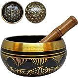 Singing Bowl Flower of Life Brass Black Meditation Yoga Prayer Spiritual Healing