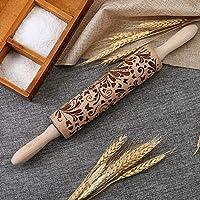 Adealink クリスマス ローリング ピン 彫刻 彫刻 木製 エンボス ローリング ピン キッチン ツール 38x4x4cm - Flower イエロー AKwell-01