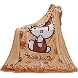 Blanket Cartoon Hello Kitty Printing Throw Blanket Soft Cover Flannel Cozy Plush Fleece Blanket for Boys Girls Kids Toddler B