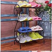 靴箱_ヨーロッパの4層Sタイプ鍛鉄靴ラック、多機能ダストラック(黒/白)49 * 71cm