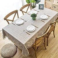 Genry ホーム格子縞の模造コットンとリネンの刺繍タッセルレース幾何学的な長方形のコーヒーテーブルのテーブルクロス (Color : Khaki1, Size : 120x180cm)