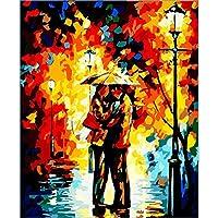 ナンバーキットによるDIY油絵 数字 描画 ブラシペイント付き あらゆるスキルレベルの40 x 50cm – ロマンチックなイングリッシュストリート Frameless 04dzxc-11-22a010