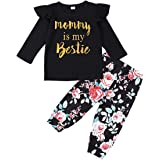 Toddler Infant Baby Girl Clothes Mommy is My Bestie Letter Print Hoodie Tops Floral Pants Winter Outfit Set