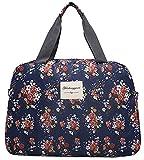 (アリルチョウ) ボストン バッグ かわいい 大容量 花柄 軽量 トラベル 旅行 バック 鞄 レディース 紺 色 ミドル サイズ