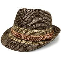 キッズ 麦わら帽子 中折れ 編みベルト バイカラー カンカン帽 ストローハット ペーパーハット 中折れハット ハット 中折れ帽子 帽子 配色 日除け 紫外線防止 女の子 ガールズ 子供 海水浴_50-52cm_C-モカブラウン