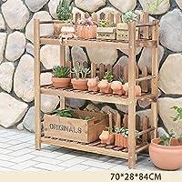 木製植物フラワーディスプレイスタンド木製ポットシェルフラック屋外屋内ランディング多層ポットホルダー (サイズ さいず : 3-70*28*84cm)