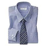 (ニッセン) nissen 抗菌防臭 形態安定 長袖 ワイシャツ ( レギュラーカラー )( 標準シルエット ) 紺ストライプ 3Lサイズ(首廻り45cm裄丈78cm)
