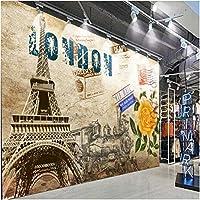 Mingld カスタム3D壁紙レトロなヨーロッパの油絵壁画リビングルームレストラン壁紙パリタワー花背景壁紙-200X140Cm