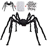 Halloween Decorations Outdoor with 6.6 Ft Giant Spider Scary Hairy Spider, 400sqft Spider Web, 20 Black Plastic Spiders Props