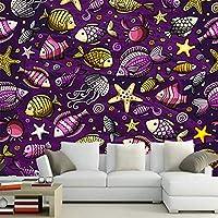 Hxcok 抽象的な漫画水中世界3D子供壁紙リビングルームのソファテレビ壁寝室レストランバー壁画-250cmX175cm